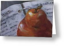 Pear Meets Cookbook Greeting Card