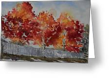 Pear Trees Fall Afternoon Greeting Card