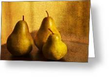 Pear Trio Greeting Card by Rebecca Cozart