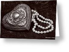 Pearls From The Heart - Sepia Greeting Card