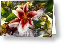 Pearly Petals Satin Leaves Greeting Card
