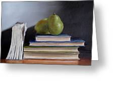 Pears And Books Greeting Card