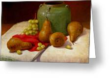 Pears And Grapes Greeting Card