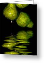 Pears And Its Reflection Greeting Card
