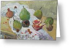 Pears Figs And Young Pomegranates Greeting Card