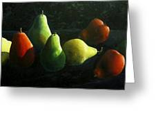 Pears In Darkness Greeting Card