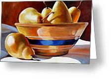 Pears In Yelloware Greeting Card