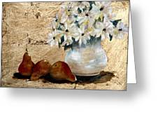 Pears On Gold Greeting Card