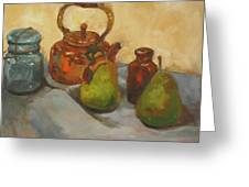 Pears With Copper Kettle Greeting Card