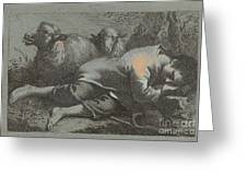 Peasant Boy Asleep Near Two Sheep Greeting Card