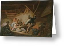 Peasant Brawl In A Tavern Greeting Card