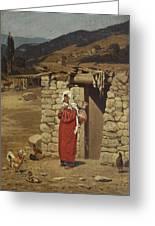 Peasant Carrying Water Greeting Card