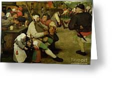 Peasant Dance Greeting Card by Pieter the Elder Bruegel