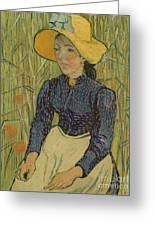 Peasant Girl In Straw Hat Greeting Card