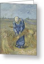 Peasant Woman Binding Sheaves After Millet Saint Remy De Provence  September 1889 Vincent Van Gogh Greeting Card