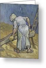 Peasant Woman Bruising Flax After Millet Saint Remy De Provence September 1889 Vincent Van Gogh  Greeting Card