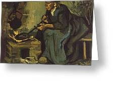 Peasant Woman Cooking By A Fireplace Greeting Card