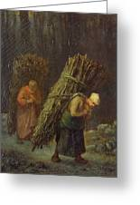 Peasant Women With Brushwood Greeting Card