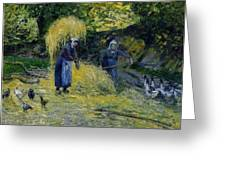 Peasants Carrying Straw Montfoucault 1875 Camille Pissarro Greeting Card