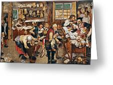 Peasants Paying Tithes By Pieter Bruegel I Greeting Card