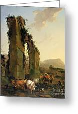 Peasants With Cattle By A Ruined Aqueduct Greeting Card