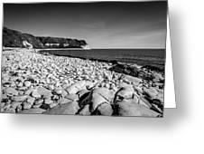 Pebble Beach At Flamborough. Greeting Card