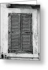 Peeling Shutters Black And White Greeting Card