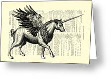 Pegasus Black And White Greeting Card