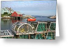 Peggys Cove And Lobster Traps Greeting Card