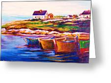 Peggys Cove  Four  Row Boats Greeting Card