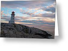 Peggys Cove Lighthouse At Dusk Greeting Card