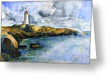 Peggy's Cove Lighthouse Landscape Greeting Card
