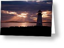 Peggy's Cove Lighthouse Silhouette Greeting Card