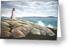 Peggys Light Nova Scotia Greeting Card