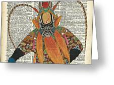 Pekin Opera Chinese Costume Over A Old Dictionary Page Greeting Card by Anna W