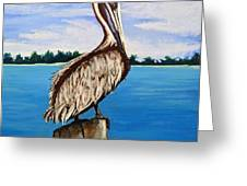 Pelican On Post 2 Greeting Card
