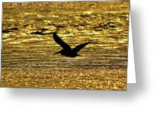 Pelican Silhouette - Golden Gulf Greeting Card