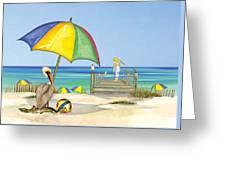 Pelican Under Umbrella Greeting Card