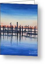Pelicans At Dusk Greeting Card