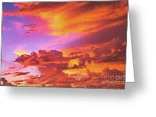 Pelicans Flying Into Sunset  Greeting Card