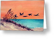 Pelicans Flying Low Greeting Card