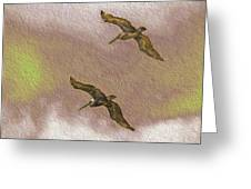 Pelicans On Cave Wall Greeting Card