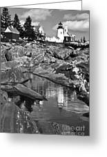 Pemaquid Point Lighthouse Maine Black And White Greeting Card