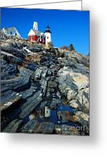 Pemaquid Point Lighthouse Reflection - Seascape Landscape Rocky Coast Maine Greeting Card