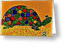 Pencil Sketch And Water Color Turtle Of The Rainbow Greeting Card