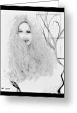 Pencil Sketch Of Blonde Hair Girl Greeting Card