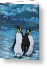 Penguin Family Expectant Again Greeting Card