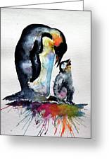 Penguin With Baby Greeting Card