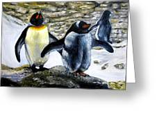 Penguines Original Oil Painting Greeting Card