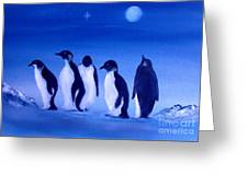 Penguins On A Night Out.sold Greeting Card